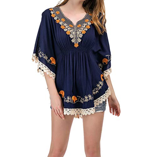 Rocke V-Ausschnitt Kurzarm Besticktes Spitzenkleid Damen (Farbe : Blau, Size : XL) -