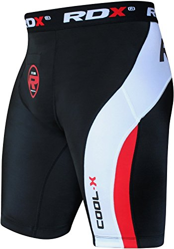 Base Layer Thermo Boden (RDX Herren Compression Shorts Flex Radlerhose Jogging Thermo Running Base Layer sudore S Noir/Rosso)