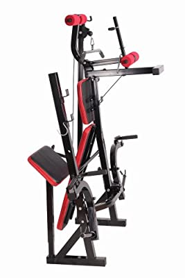SportPlus Weight Bench with long barbell holder, curlpult and butterflycurl, incl. Lat-Tower, foldable, user weight 220 lbs (100 kg) max., EN ISO 20957 certified safety by Latupo GmbH SG, uk sporting goods, LB285