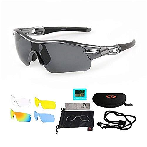 ANSKT Sportbrillen Radsportbrillen Sportbrillen mit UV400 5 Ersatzgläser inkl. Schwarz polarisierter Linse für Outdoor-Aktivitäten Radsport Golf Unisex-Grau_schwarz