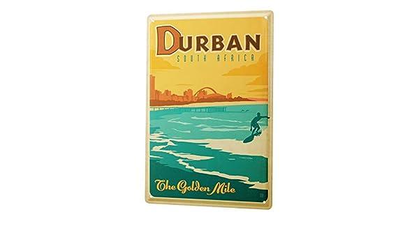 Blechschild XXL Abenteurer Durban Südafrika Strand Surfer