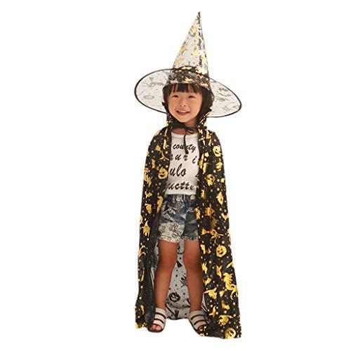 Kinder-Kostüm Hexe Zauberer Kostüm Cosplay Cape Kürbis Fledermaus Katze Bräunungsdruck Rollenspiel-Kostüm mit spitzem Hut - Hexen Kostüm Kinder Katze