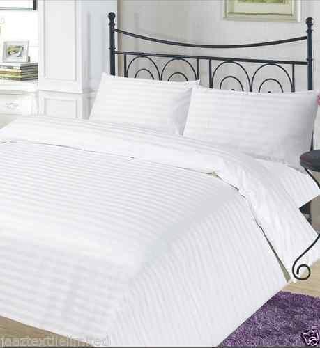 Luxus t-300Hotel Qualität 100% Ägyptische Baumwolle Satin Bettwäsche-Set, Gestreift Weiß Single Double King & Super King, weiß, Einzelbett - Ägyptische Baumwolle Single