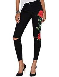WintCO Pantalons Femmes Droit Crayons Slim Pantalons avec Broderies Bleu Jeans Amincissant Taille Haute Collant Pants Noir