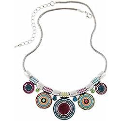 Collar - SODIAL(R)Collar de estras de aleacion de bohemia de multicolor para mujeres