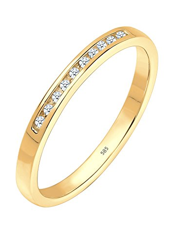 Diamore Damen Ring mit Diamant (0,10 ct.) Reihenfassung Elegant in 585 Gelbgold