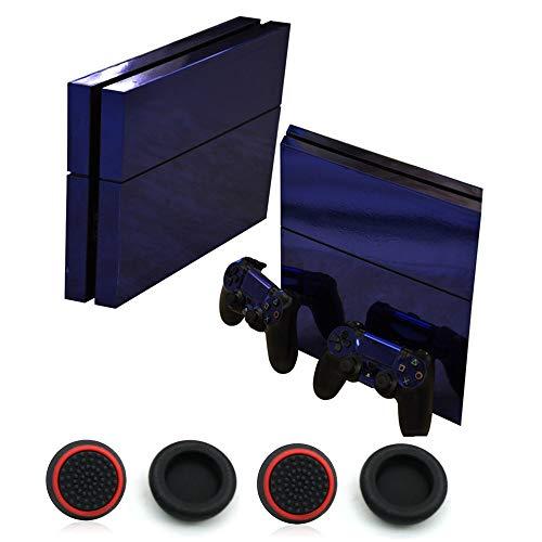 Decal Protector Bunte Glossy Decal Skin Aufkleber Faceplates für Playstation 4 PS4 Console und Controller und 4 Stück Daumen Griff Kappe (Blau)