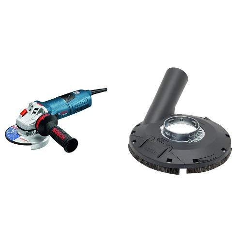Bosch Professional Winkelschleifer GWS 13-125 (1300 Watt, Leerlaufdrehzahl: 11.500 min-¹, in Karton) + Bosch Professional Absaughaube (mit Bürstenkranz, Farbe, Lacke, Kunststoff (GFK), Holz, für Winkelschleifer)