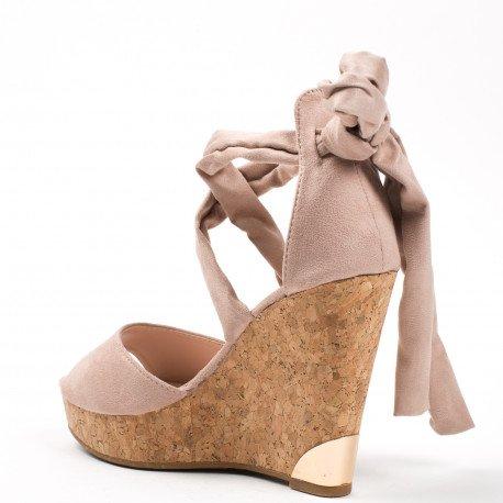 A Compensées Vendre Jahna Daim Effet Toe Beige Ideal Peep Shoes SnxUaa