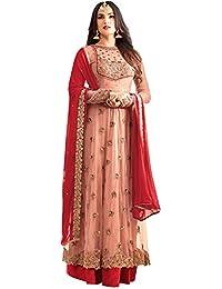 SareeShop Women's Pink & Gajri Georgette Embroidery Gown Latest Party Wear Designe Straight Semi Stitched Free...