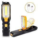 Haofy LED Arbeitsleuchte Taschenlampe, Superhelle COB Werkstattlampe Inspektionsleuchten mit 4 Lichtmodi Magnet Haken, USB Wiederaufladbare Campinglampe für Auto Reparatur Werkstatt Notbeleuchtung