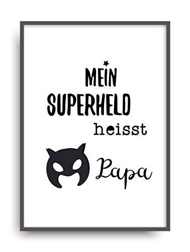 Fine Art Kunstdruck SUPERHELD PAPA Poster Print Plakat moderne Vintage Deko Bild DIN A4 (Lustig Frauen Für Kostüme Ideen)
