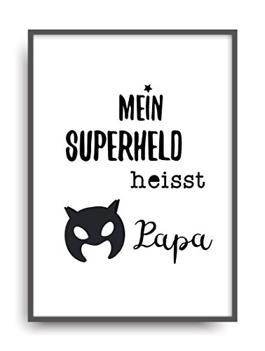 Fine Art Kunstdruck SUPERHELD PAPA Poster Print Plakat moderne Vintage Deko Bild DIN A4 (Kostüme Superheld 20 Top)