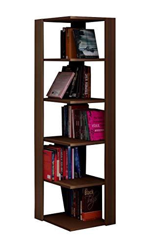 Homidea Ankle Bücherregal - Eckregal - Wandregal - Standregal - Büroregal in modernem Design (Nussbaum) (Bücherregal Nussbaum)
