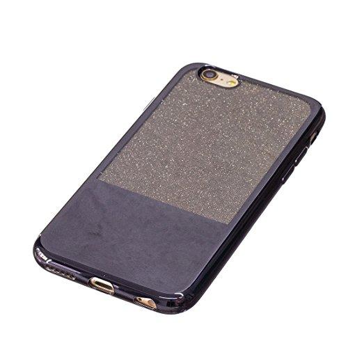 Phone case & Hülle Für iPhone 6 / 6S, galvanisierender Spiegel TPU schützender rückseitiger Abdeckungs-Fall ( Color : Black ) Black