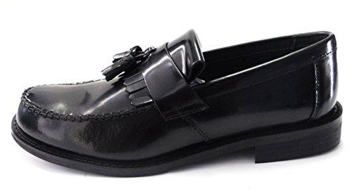 Roamers Selle de serrage Bouton Homme Chaussures Basses en cuir véritable Pompom Lässig élégant mod Chaussures Noir - Noir