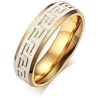 In acciaio INOX con motivo a greca, Coppia di anelli di fidanzamento da matrimonio, colore: bianco e oro