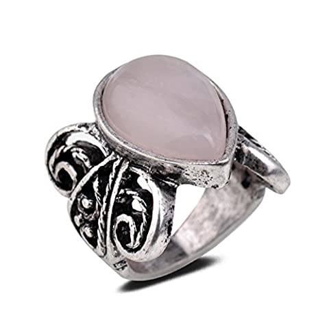 Yazilind Vintage Antique Pear Cut Pink Rose Quartz Retro Silver Plated S Ring Women