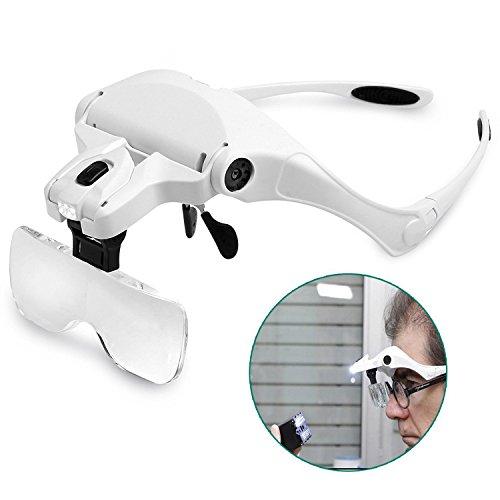 Rightwell Lupenbrille Led Licht Hände Frei Kopfband Lupen Lampe Stirnband Brille Lupen Verstellbare...