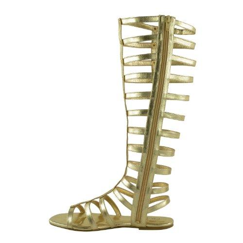 DONNE Cut Out Sandali stile gladiatore basse ginocchia Stivali con spalline taglia Oro Similpelle