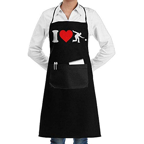 ong Aprons I Love Bowling Player Baking Sleeveless Anti-Fouling Overalls with Pocket ()