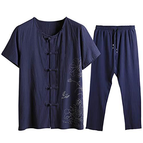 LSAltd Sommer Männer Klassische National Style Print T-Shirt Tops + Lace Up Hosen Hose Baumwolle-Hanf Outfit Set