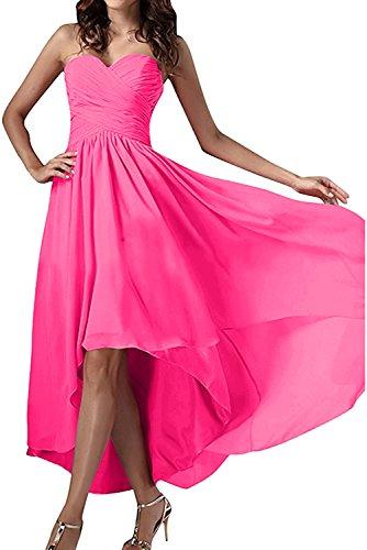 Ivydressing Damen Einfach Herzform Abendkleider Chiffon Festkleid Ballkleid Partykleid Dunkelrosa