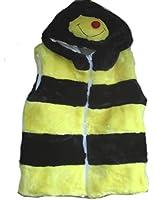 Boys Girls Soft Furry Animal Hooded Gilet Body Warmer Kids Novelty Bodywarmer (Medium, Bee)
