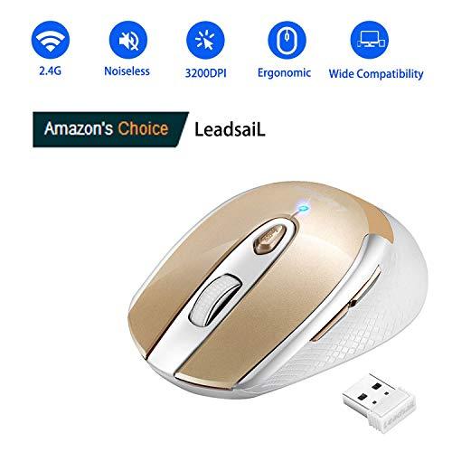 LeadsaiL Leise Kabellose Maus für Laptop, Wireless Mouse 2.4G 3200 DPI 6 Tasten Optische Funkmaus, Schlanke klick Maus mit 6 Einstellbare DPI, USB Nano Empfänger, Eine AA-Batterie Enthalten (Gold)