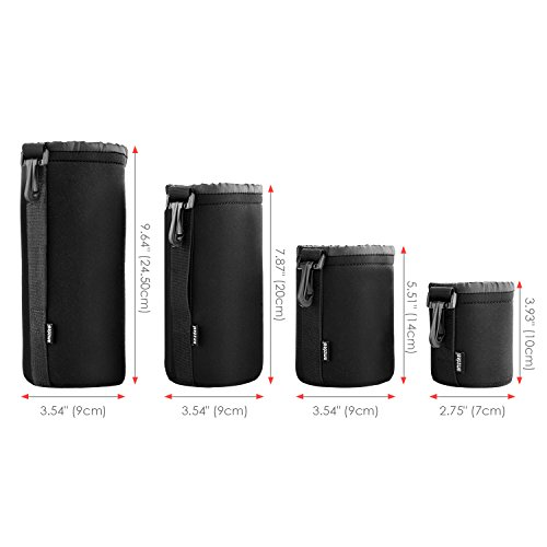 Amzdeal Housse Objectif Lot de 4, Étui objectif de protection en néoprène pour Canon, Nikon, Pentax, Sony, Olympus, Panasonic-S, M, L, XL