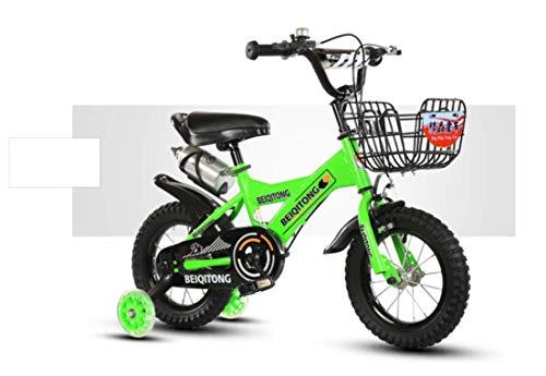 Bicicleta para NiñOs Verde, 16 Pulgadas Bicicleta con Ruedas De Entrenamiento Bastidor con Marco De...