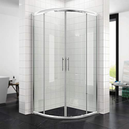 Duschkabine Viertelkreis 80 * 80cm Duschabtrennung Duschtür ohne Duschtasse Runddusche Schiebetür Dusche Duschwand Höhe 185cm