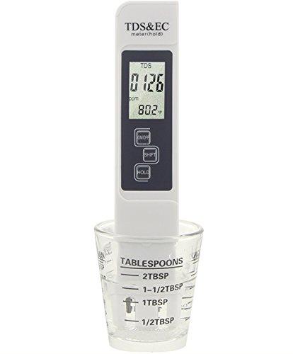 Qualità dell' acqua Tester durezza, professionale Digitial CE e temperatura TDS 0 ~ 9990 ppm di misurazione Gamma, +/-2% di precisione kit test casa rubinetto per acqua potabile per acquari (Bianco)