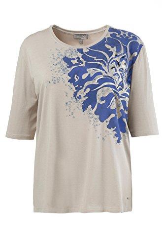 Ulla Popken Damen große Größen | Shirt mit Flockdruck | glitzerndes Pailletten-Design | Halbarm | bis Größe 62+ | 712071 Helltaupe