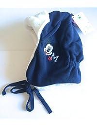Réf8B22 LIC.232 - Bonnet Péruvien Chapka Polaire Mickey Enfant Bleu Marine Blanc - Licence Officielle Mickey Mouse Disney - Taille 53 4-5 Ans