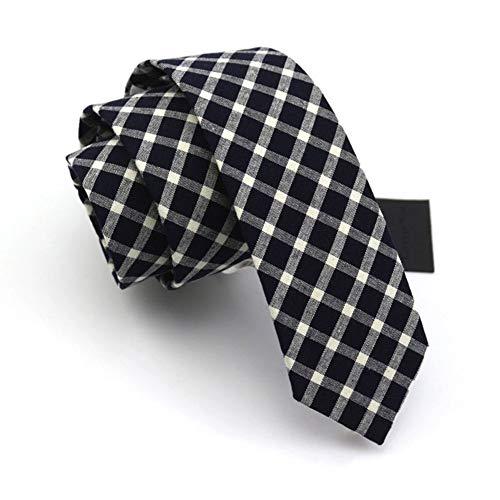 WYJW Schmale Retro Krawatte Party Spielen Studenten Männer Anzug Streifen Gitter koreanische Version Polyester pfeilförmigen Vielzahl von Stilen, mehrere Farben, 6 * 145cm (Farbe: Deep Blue Check (Männer Krawatten Plain)