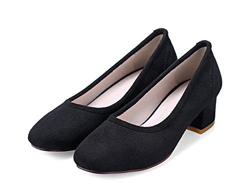 VogueZone009 Femme Tire Suédé Carré à Talon Bas Couleur Unie Chaussures Légeres Noir