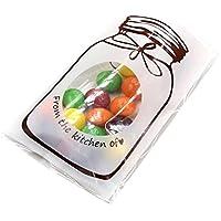 itemer 100pcs Cute botella bolsas de regalo de celofán galletas Candy Paquete Bolsas autoadhesivas 7 X 10+3cm blanco