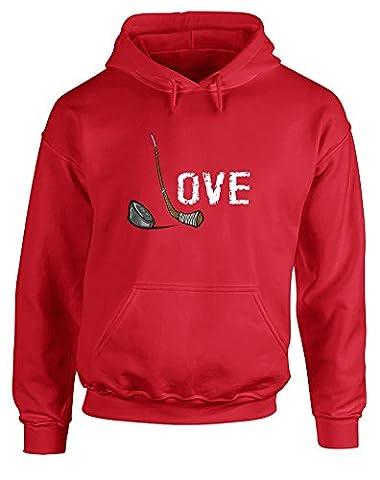 Love Hockey, Printed Hoodie - Red/White/Transfer 2XL