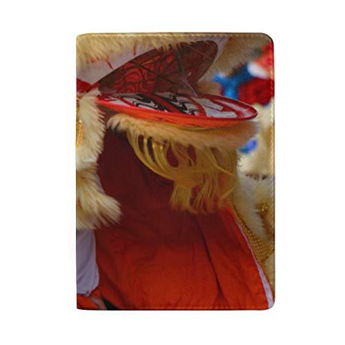 Tanzen Lion Chinese New Year Parade Blockierung Print Passinhabers Abdeckung Fall Reisegepäck Passport Wallet Kartenhalter Mit Leder Für Männer Frauen Kinder Familie