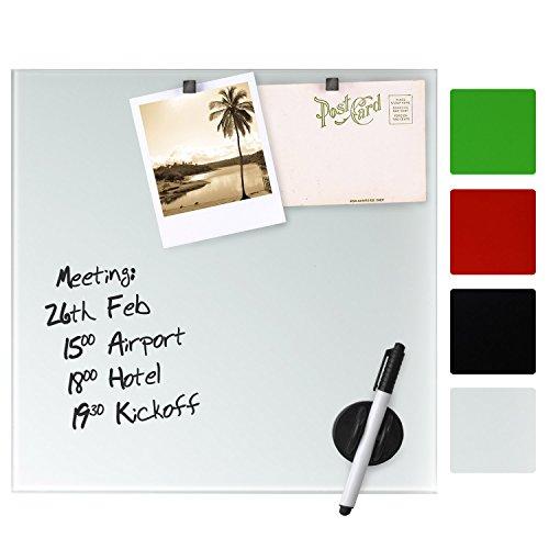 Artina Memoboard aus Glas Magnet- und Schreib-Tafel - 45x60 cm - inklusive Stift, Magneten und Schwamm - Weiß