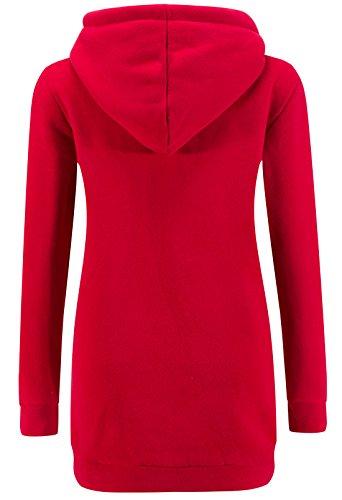 KorMei Damen Langarm Hoodie Kapuzenpullover Jacke Sweater 2 Farben Rot&Schwarz