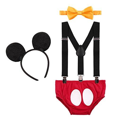 IWEMEK Baby Mickey Mouse 1. / 2./ 3. Geburtstag Halloween Kostüm Outfit Unterhose + Fliege + Y-Form Hosenträger + Maus Ohren 4pcs Bekleidungssets Fotoshooting Kostüm für Unisex Jungen Mädchen