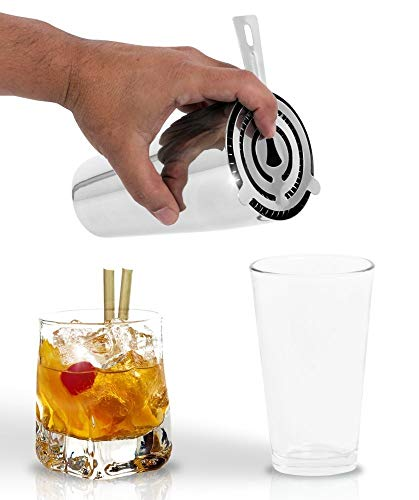 Martini Boston Shaker by Bar Brat / 3 Piece Durable Cocktail Shaker Set / Pint Mixing Glass / Bonus Cocktail Strainer & 110 Cocktail Recipe (ebook) Included by Bar Brat
