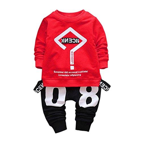 Lylita 2pcs bimbo bambino neonato vestiti lettera stampa t-shirt top + pantaloni set (1 anno, rosso)