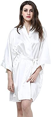 PrettyCos bata de bano encaje batas de casa con escote de seda Ropa de dormir Albornoz dama de honor de la novia