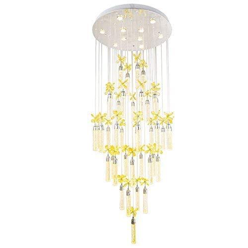 Kristall-blumen-kronleuchter (Kronleuchter - Kreative dekorative Leuchten Kristall-Blumen-Kronleuchter führte hängende Lichter Doppeltreppenlichter-lange Kronleuchter-Landhaus-Wohnzimmer-große Leuchter-Hotel-Lobby beleuchtet lange)