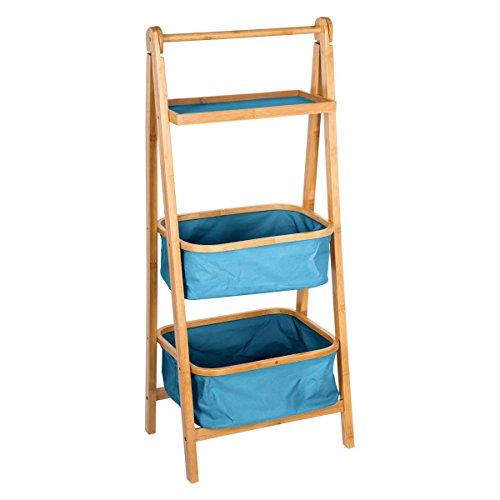Scaffale pieghevole con 2 cestini + 1 ripiano - stile esotico colorato - colore: legno e blu