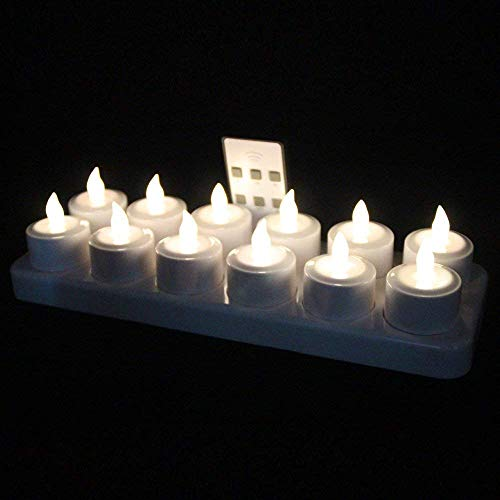 EuroFone Flameless LED Teelicht Kerze Wiederaufladbare LED Kerzen mit Cup LED-Weihnachtskerzen Kerzenlichter Led Lampe Wachskerzen Mit Ladestation 12pcs (Warmweiß with remote)