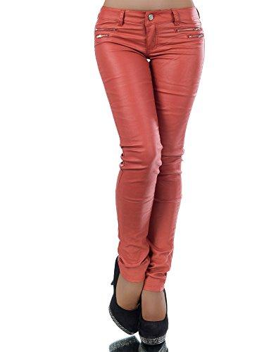 L521 Damen Jeans Hose Hüfthose Damenjeans Hüftjeans Röhrenjeans Leder-Optik, Farben:Bronze;Größen:40 (L)